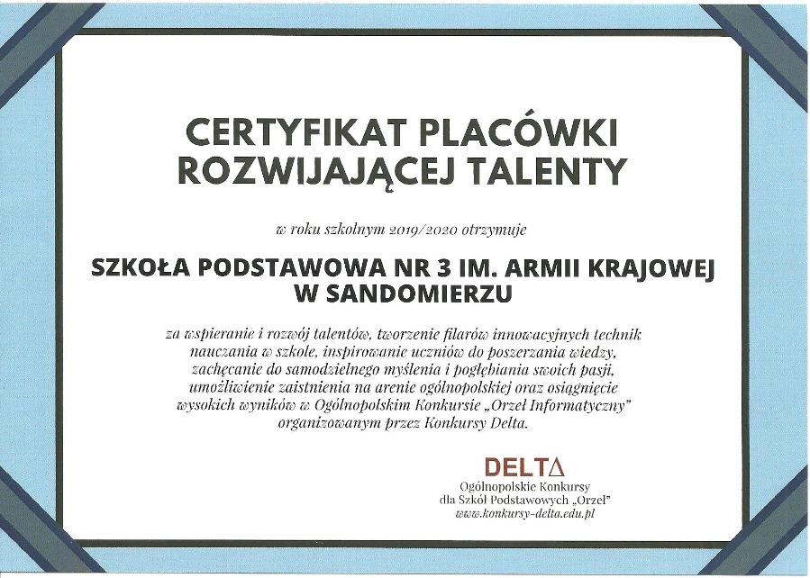 certyfikat szkoła rozwijająca talenty